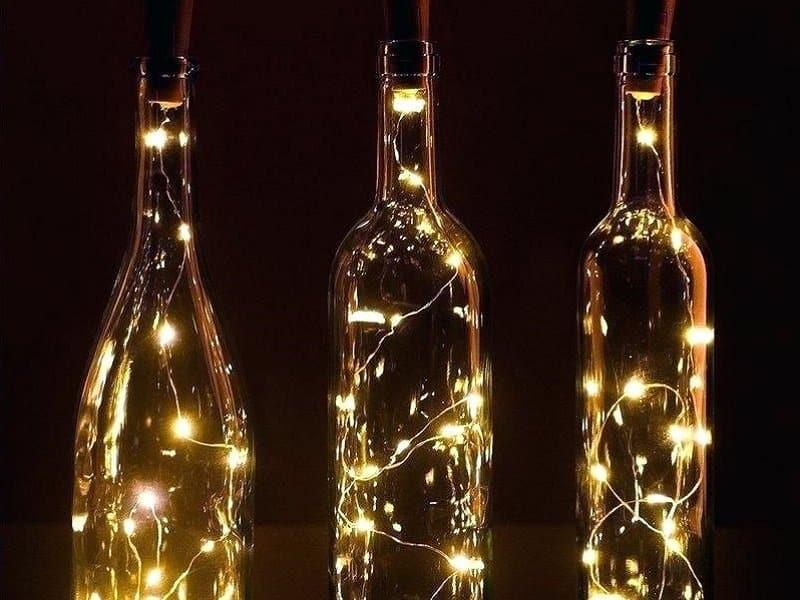 bouteille verre en luminaire