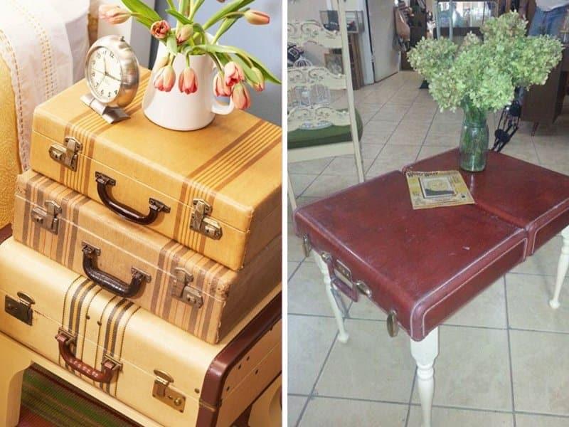 vieux bagages en table