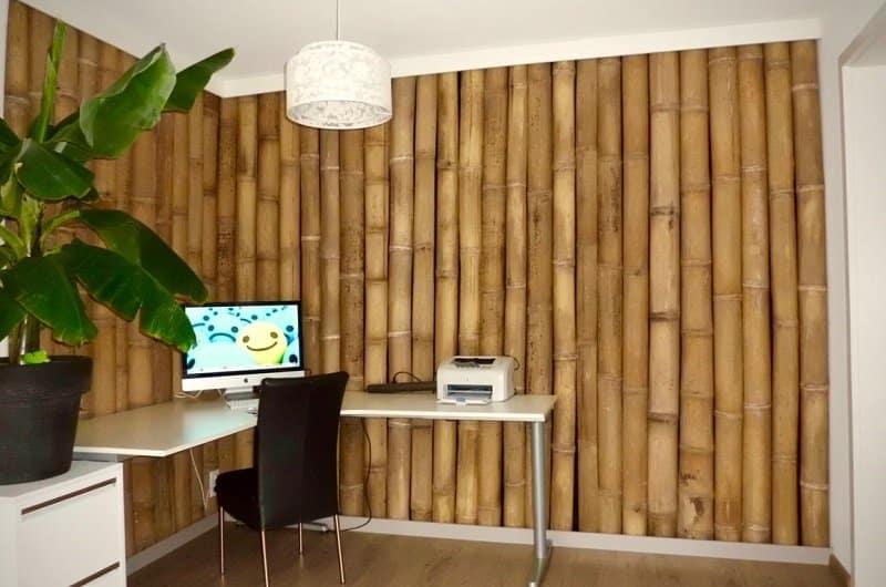 mur entierement en bambou