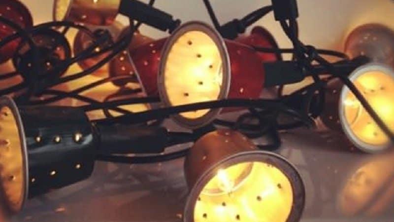 guirlande lumineuse capsules de cafe